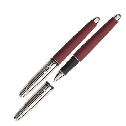 Borghini Guilloche Prestige Rollerball Pen in Soft Touch Bordeaux